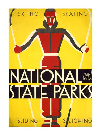 Framed National and state parks, skiing, skating, sliding, sleighing Print
