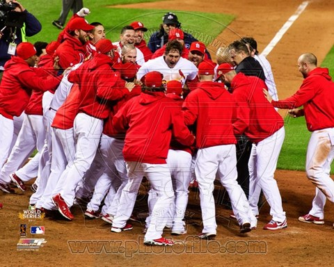 Framed St. Louis Cardinals Celebrate Winning Game 6 of the 2011 MLB World Series (#32) Print