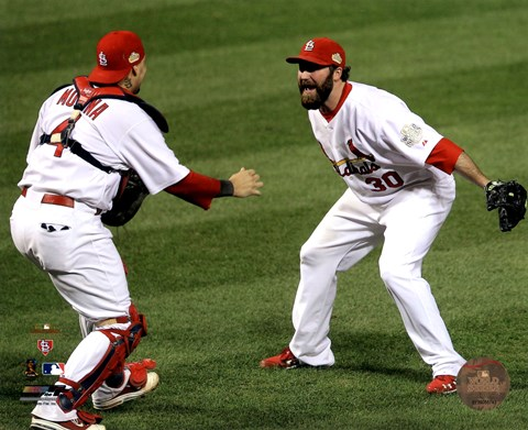 Framed Jason Motte & Yadier Molina Celebrate Winning Game 7 of the 2011 MLB World Series (#37) Print