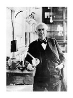 Thomas Edison with the first light bulbs Art