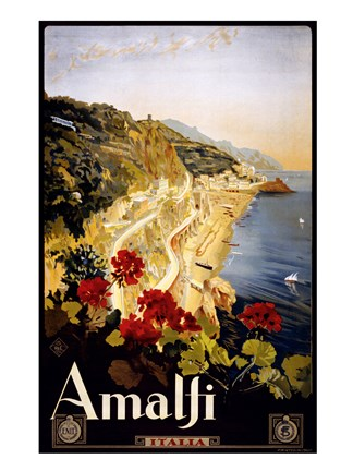 Framed Amalfi, travel poster Print