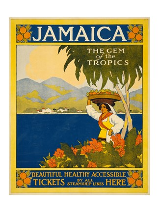 Framed Jamaica, the gem of the tropics, travel poster, 1910 Print