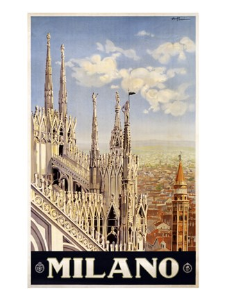 Framed Milano Travel Poster Print