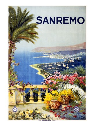 Framed San Remo, travel poster 1920 Print