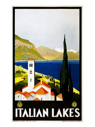 Italian Lakes, travel poster, 1930