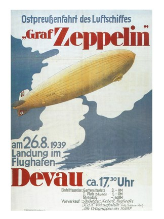Framed Zeppelin in Devau 1939 Print