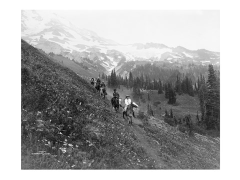 Framed People on horseback, on trail, Van Trump Park, Mt. Rainier National Park, Washington Print