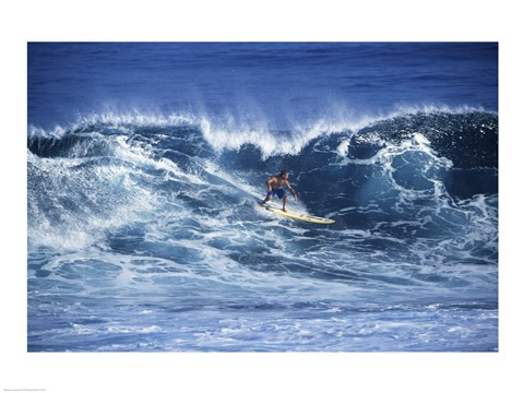 Framed Man Surfing off of the Coast of Hawaii Print