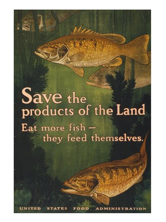 Framed Save the products of the land--Eat more fish-they feed themselves United States Food Administration Print