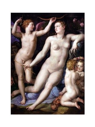 Framed Angelo Bronzino - Venus, Cupid and Envy Print