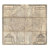 1652 Gomboust 9 Panel Map of Paris, France Art