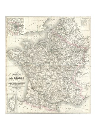 Framed 1852 Levasseur Map of France Print