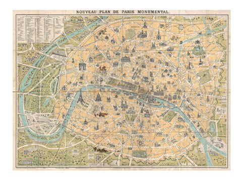Framed 1890 Guilmin Map of Paris, France with Monuments Print