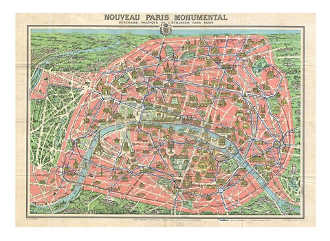 Framed Map of Paris circa 1931 including monuments Print