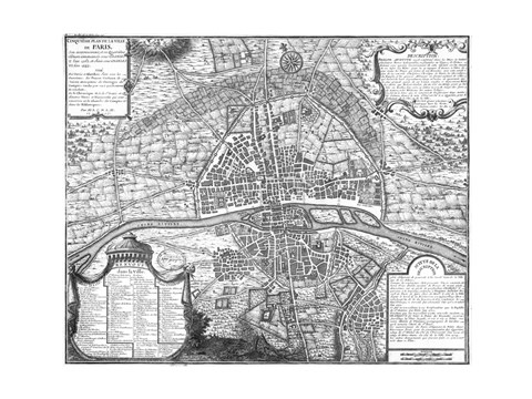 Framed Plan de Paris - black and white map Print