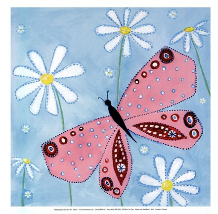 Framed Daisies and butterflies I - mini Print