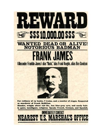 Frank James Wanted Poster Fine Art Print By Unknown At