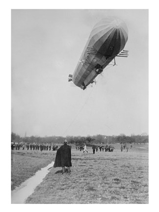 Framed Blimp, Zeppelin, In Flight Print