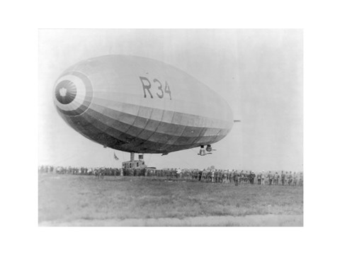 Framed Landing of British Dirigible R-34 at Mineola, Long Island, N.Y. Print