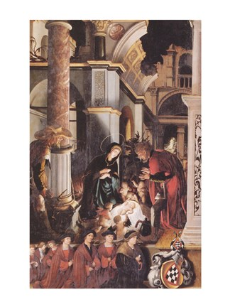 Framed Oberried Altarpiece, The Birth of Christ Print
