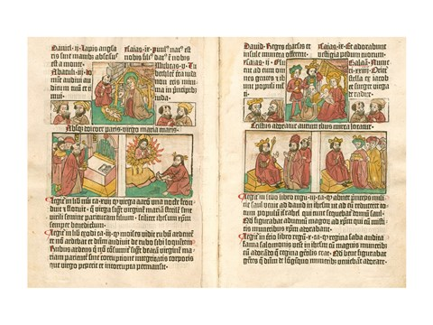 Framed Spread from the Biblia Pauperum printed by Albrecht Pfister Print