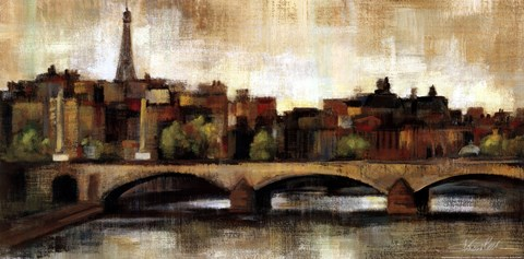 Framed Paris Bridge I Spice Print