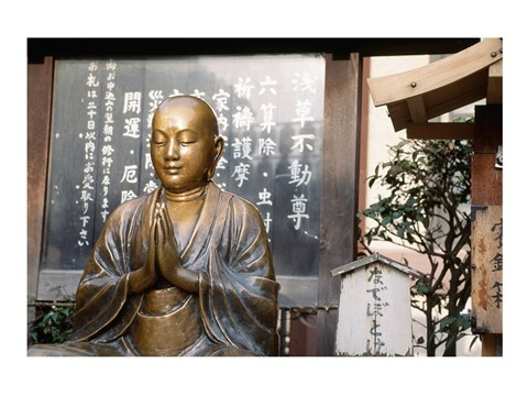 Framed Praying statue of Buddha in Asakusa Kannon Temple Print