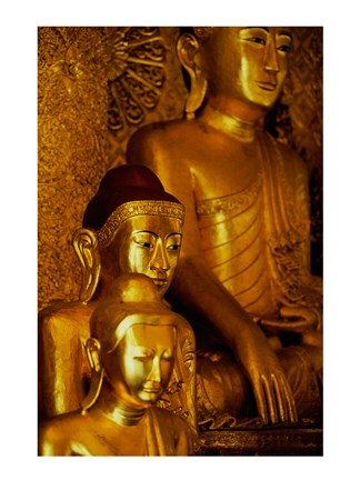 Framed Close-up of statues of Buddha, Shwedagon Pagoda, Yangon, Myanmar Print