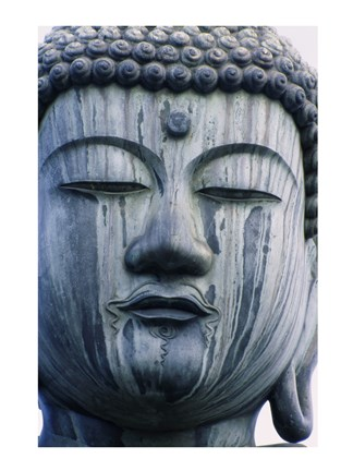 Framed Face of a Buddha Statue, Japan Print