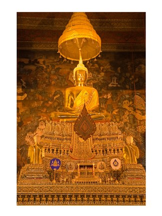 Framed Buddha in a temple, Wat Pho, Rattanakosin District, Bangkok, Thailand Print