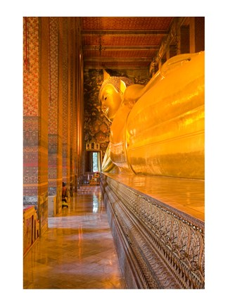 Framed Statue of reclining Buddha in a Temple Print