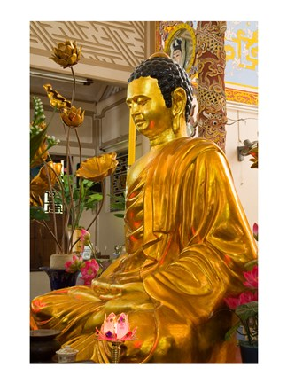 Framed Statue of Buddha in a Temple, Long Son Pagoda, Nha Trang, Vietnam Print