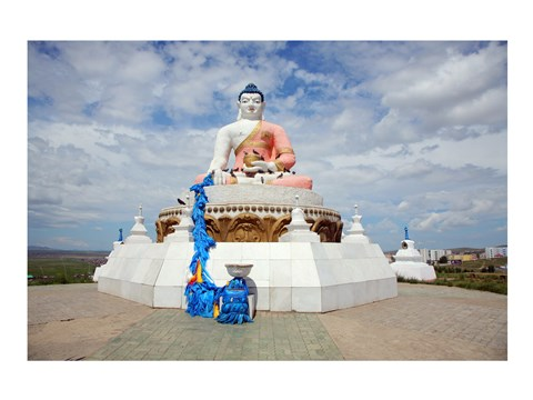 Framed Low angle view of a statue of Buddha, Darkhan, Mongolia Print
