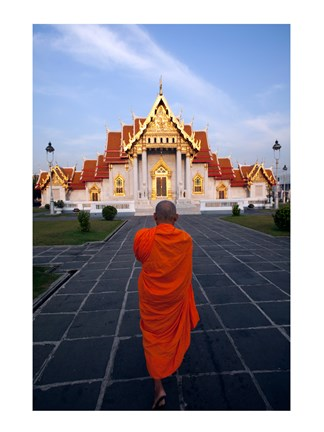 Framed Buddhist Monk at a Temple Print