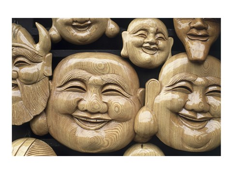 Framed Close-up of Faces of Laughing Buddha, Vietnam Print