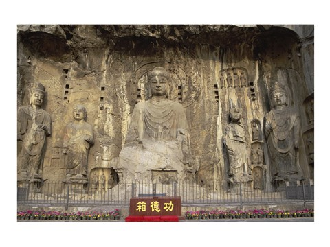 Framed Buddha Statue in a Cave, Longmen Caves, Luoyang, China Print