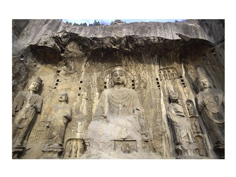 Framed Buddha Statue Carved on a wall, Longmen Caves,  ground view in China Print