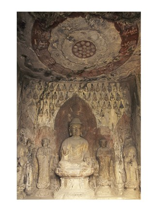 Framed Buddha Statue Carved, Longmen Caves, Luoyang, China Print