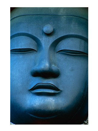 Framed Close-up of the face of a Buddha Statue, Tokyo, Honshu, Japan Print