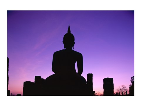 Framed Silhouette of the Seated Buddha, Wat Mahathat, Sukhothai, Thailand Print