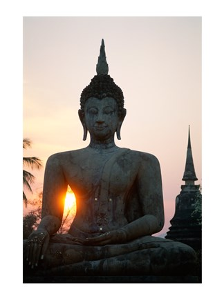 Framed Seated Buddha at Sunset, Wat Mahathat, Sukhothai, Thailand Print