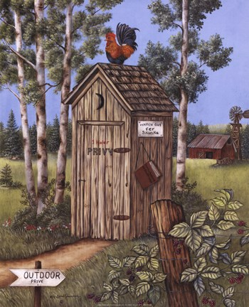 Framed Outhouse - Rooster Print