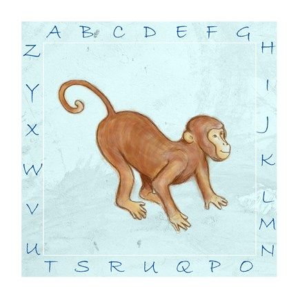 Framed Monkey Alphabet Print
