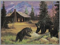 Bears on Logs  Fine Art Print