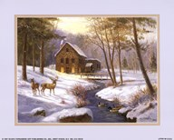Log Cabin with Deer Art