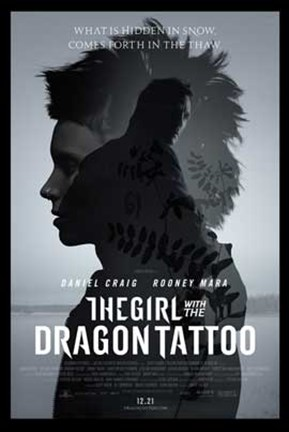 Framed Girl with the Dragon Tattoo movie poster Print