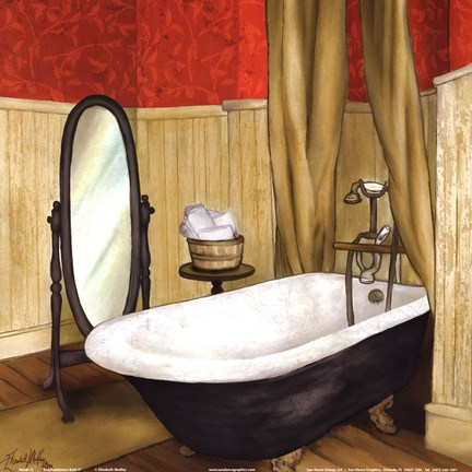Framed Red Farmhouse Bath II Print
