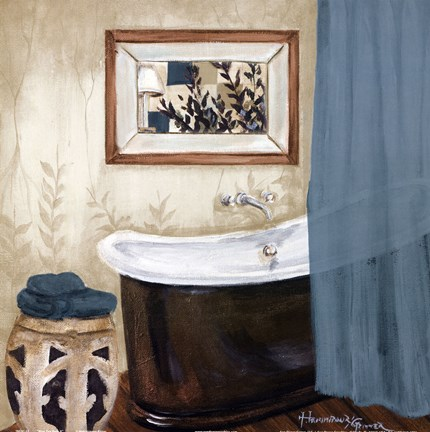 Framed Blue zen bath II Print
