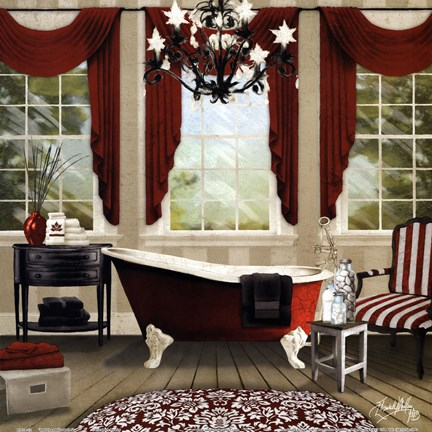 Framed Red Chandelier Bath I Print