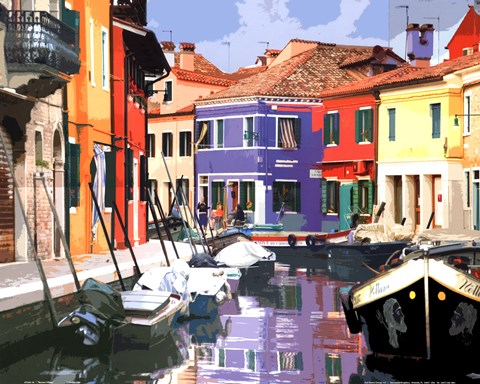 Framed Burano Village Print